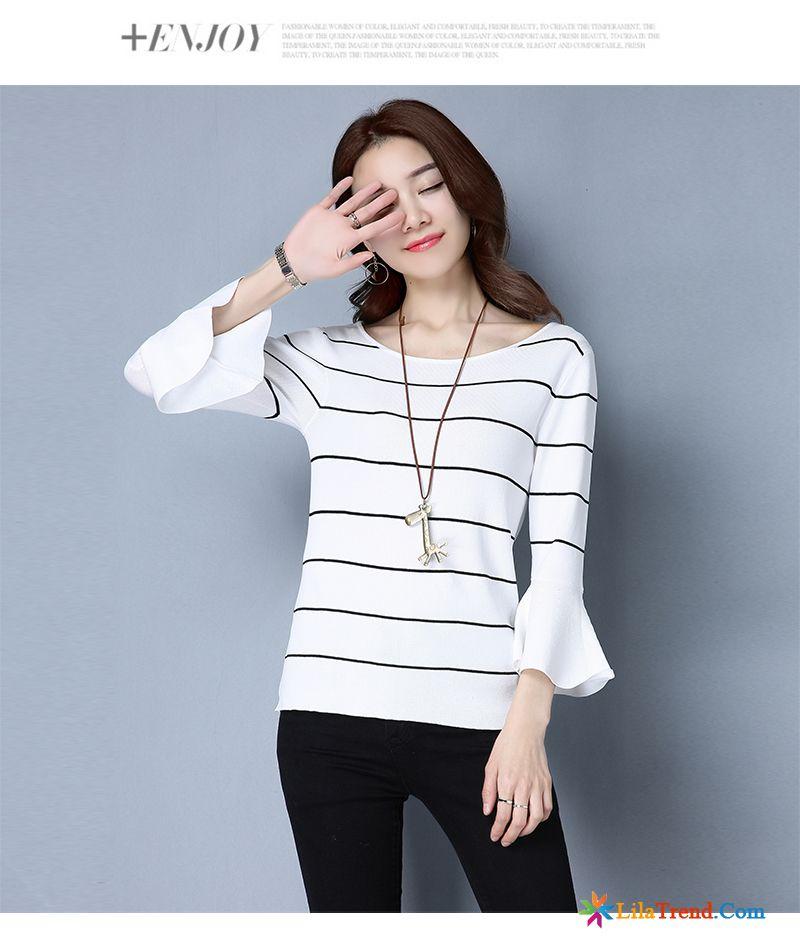 T Shirt Blau Weiß Gestreift Damen Türkis Streifen Eisseide