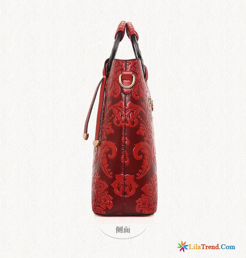5d820dae17333 Umhängetasche Damen Groß Elegant Handtaschen Geprägt Sommer Rot Günstig