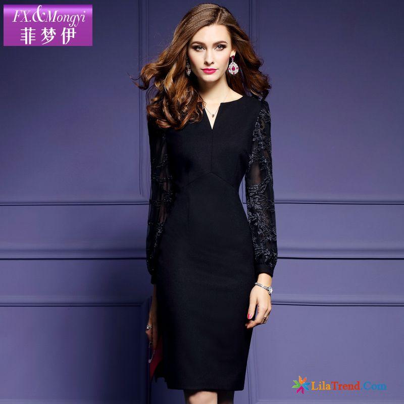 9cb389c0962d82 Damen Kleider Online Bestellen Feder Lange Ärmel Halber Offener Kragen  Kleider Dame Günstig