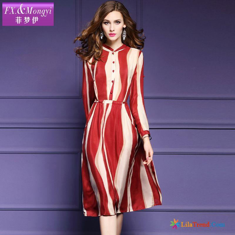 0749cc3e7212 Günstige Kleider Online Dunkelfarbig Feder Streifen Damen Kleider ...