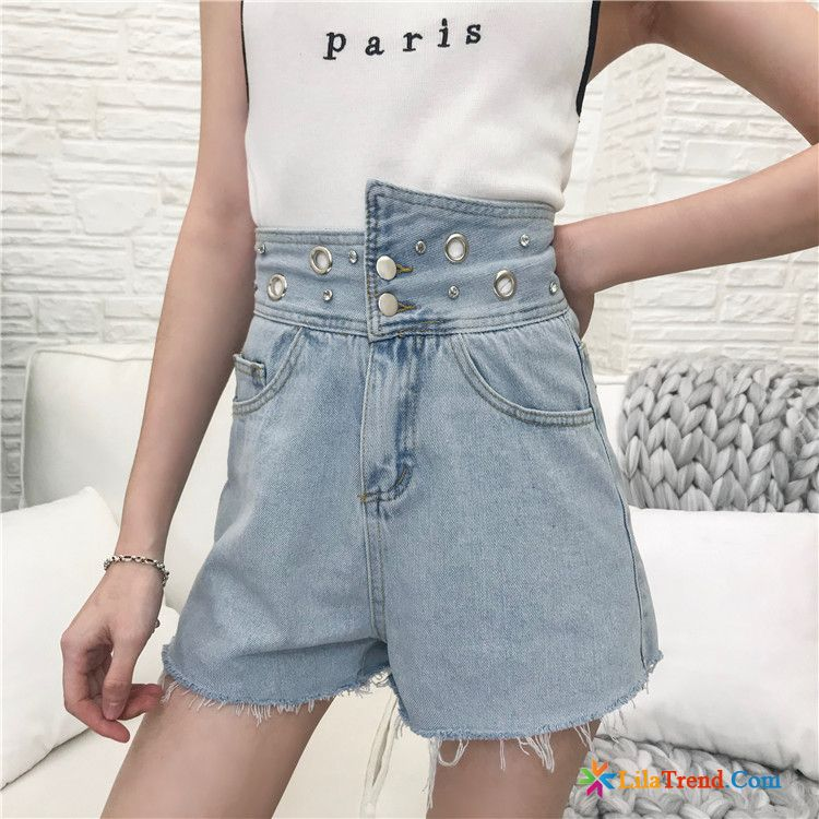 Günstige Röhrenkurze Hosen Gestreift Denim Sommer Hellblau Damen Hot Pants Sale