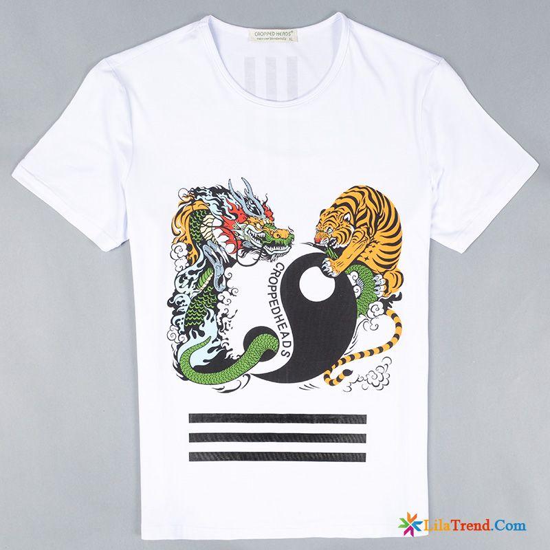 T Hülse Drache Tiger Drucken Shirt Mit Gummibund Herren Trend Billig l1FJKc3T