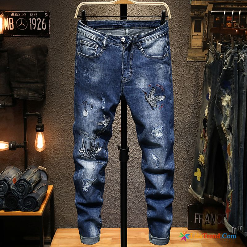 Jeans Destroyed Look Herren Löcher Jeans Trendmarke Herren Stickerei Billig