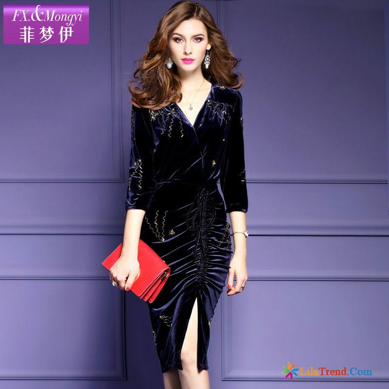 wholesale dealer e26f2 b392f Onlineshop Kleidung Damen Sexy Lange Die Gabel Teilen V-neck ...