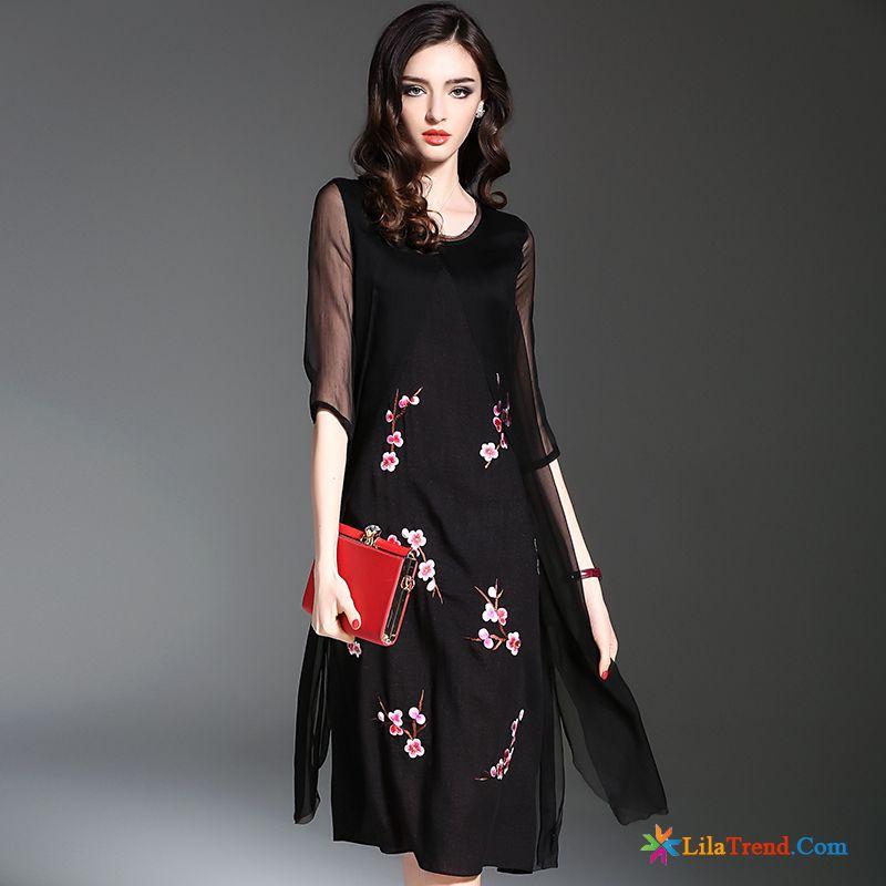 online retailer e54a2 061e6 Schwarzes Langes Kleid Leinen Große Größe Damen Langer Rock ...
