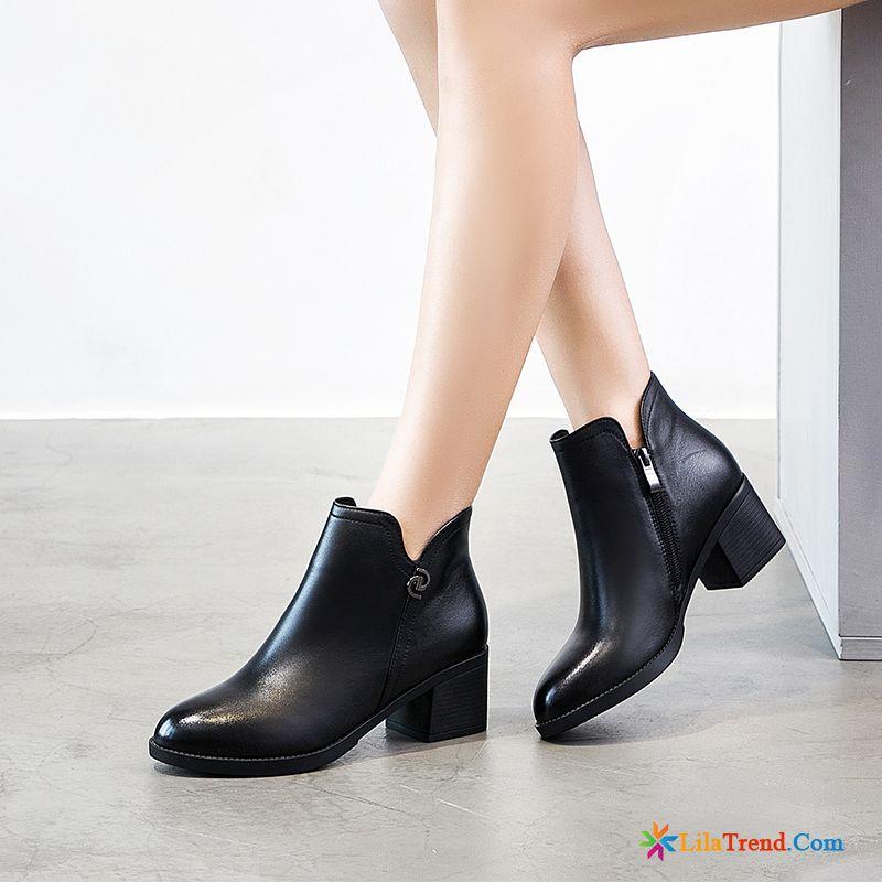 Schicke Schuhe Damen Quaste Echtleder Dicke Sohle Feder